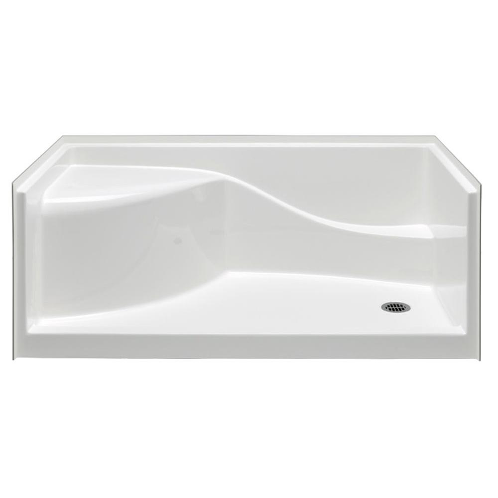 Aquatic Coronado 60 In. X 30 In. Single Threshold Shower Pan In White