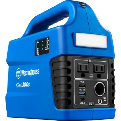 iGen300s 300/600-Watt Lithium-Ion Portable Power Station with Power Inverter, LCD Display, and Flashlight