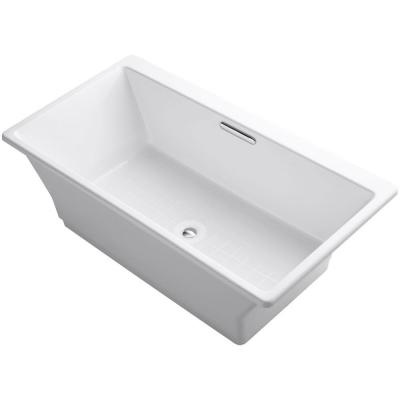 Reve 5.5 ft. Porcelain-Enameled Cast Iron Flatbottom Non-Whirlpool Bathtub in White