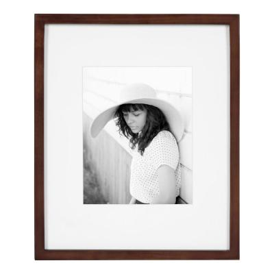 Gallery 13 in. x 16 in. matted to 8 in. x 10 in. Walnut Brown Picture Frame