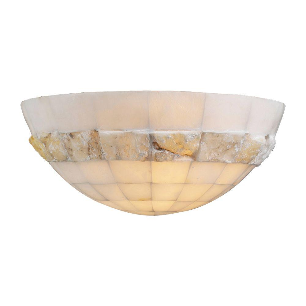 PLC Lighting 1 Light Wall Sconce Natural Alabaster Glass-CLI-HD7312 - The Home Depot