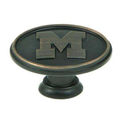 NCAA Michigan 1-1/2 in. Oil Rubbed Bronze Oval Cabinet Knob (10-Pack)