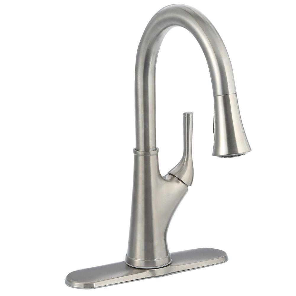 Pfister Cantara Single Handle Pull Down Sprayer Kitchen Faucet In Stainless Steel F 529 7crs The Home Depot