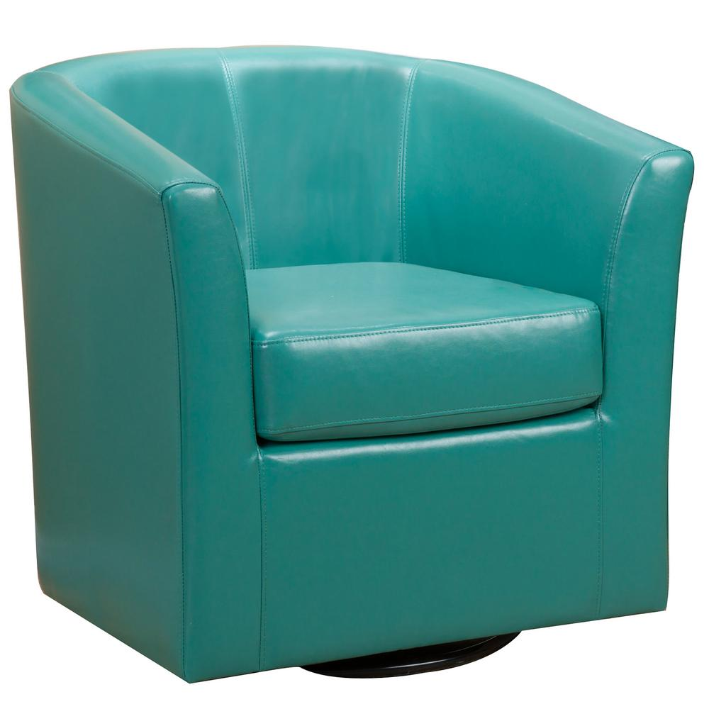 Noble House Daymian Turquoise Pu Leather Swivel Club Chair 7697 The Home Depot