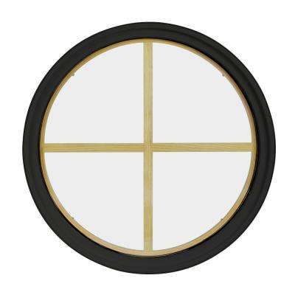 30 in. x 30 in. Round Bronze 4-9/16 in. Jamb 2-1/4 in. Interior Trim 4-Lite Grille Geometric Aluminum Clad Wood Window
