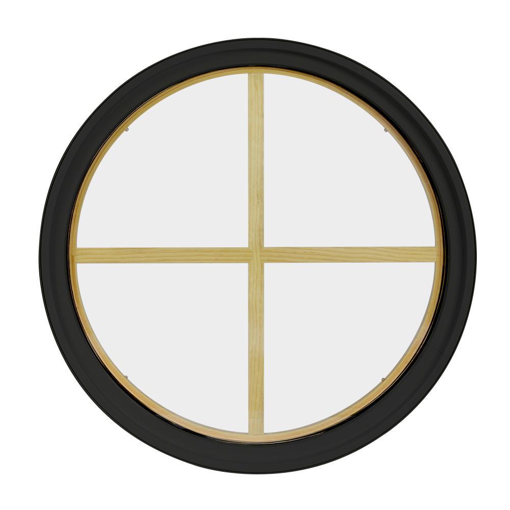30 in. x 30 in. Round Bronze 6-9/16 in. Jamb 3-1/2 in. Interior Trim 4-Lite Grille Geometric Aluminum Clad Wood Window