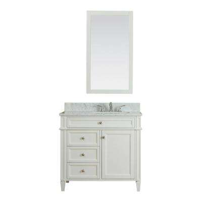 Samantha 36 in. W x 22 in. D Vanity in White with Marble Vanity Top in White with White Basin and Mirror