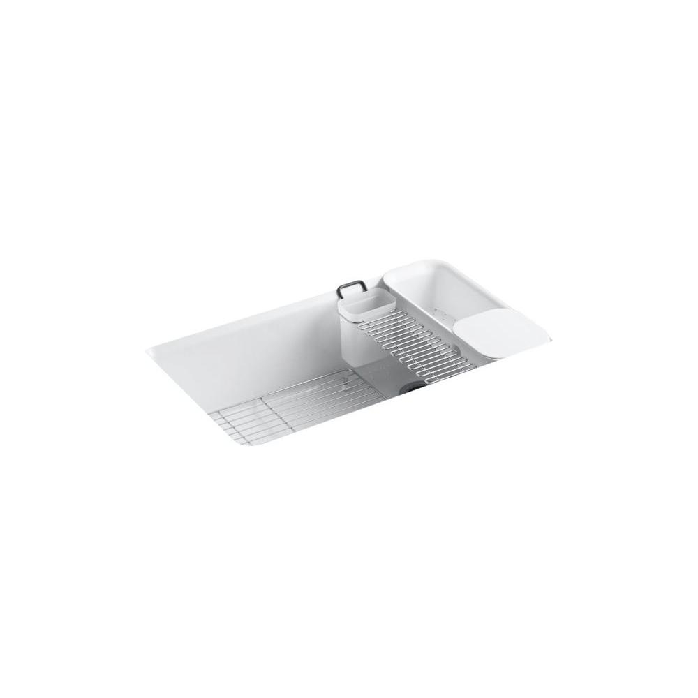 Riverby Undermount Cast Iron 33 in. 5-Hole Single Bowl Kitchen Sink