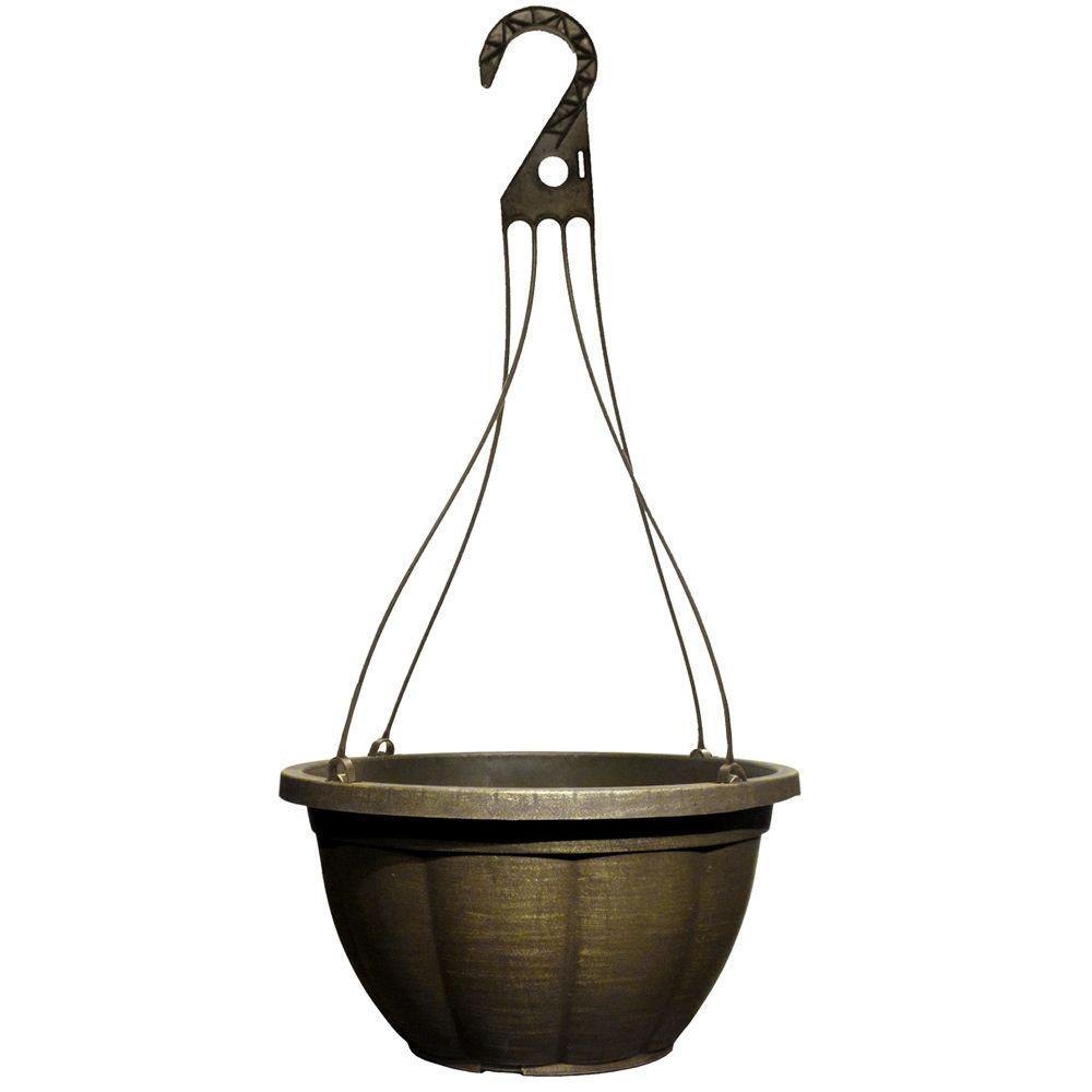 12.8 in. Plastic Deva Black Bronze Hanging Basket