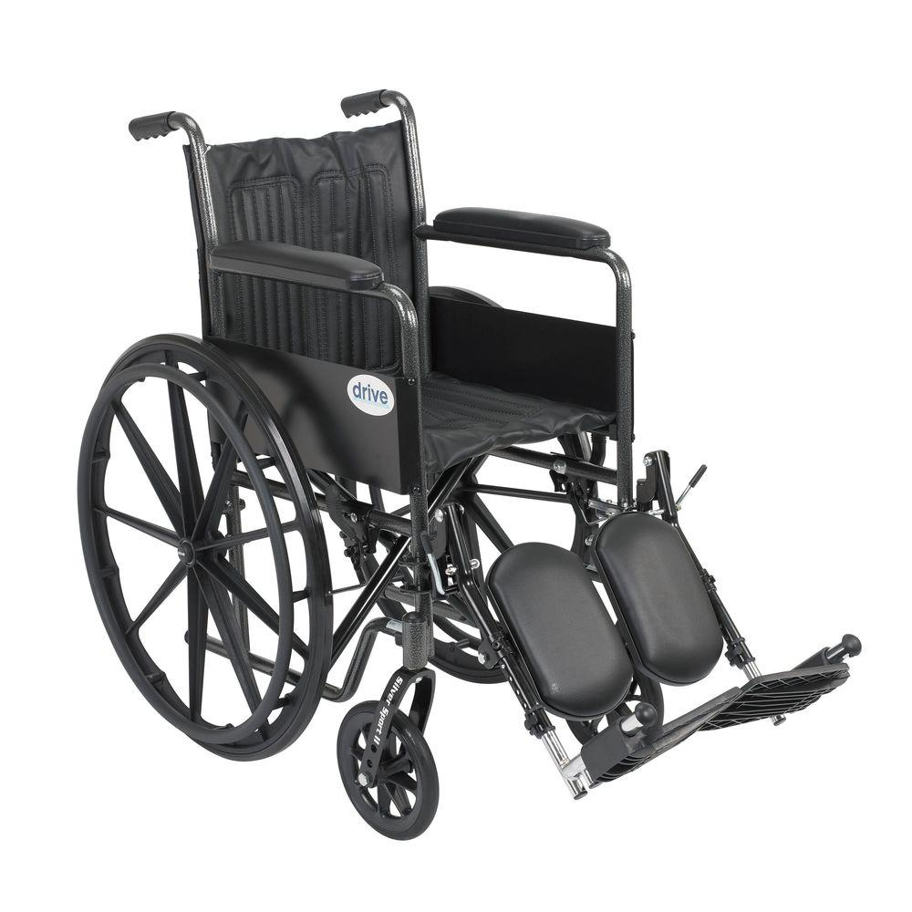 Drive Silver Sport 2 Wheelchair with Fixed Arms, Elevatin...