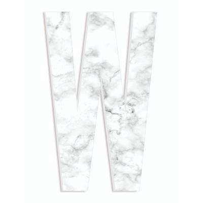 """12 in. x 18 in. """"Modern White and Grey Marble Patterned Initial W"""" by Artist Daphne Polselli Wood Wall Art"""