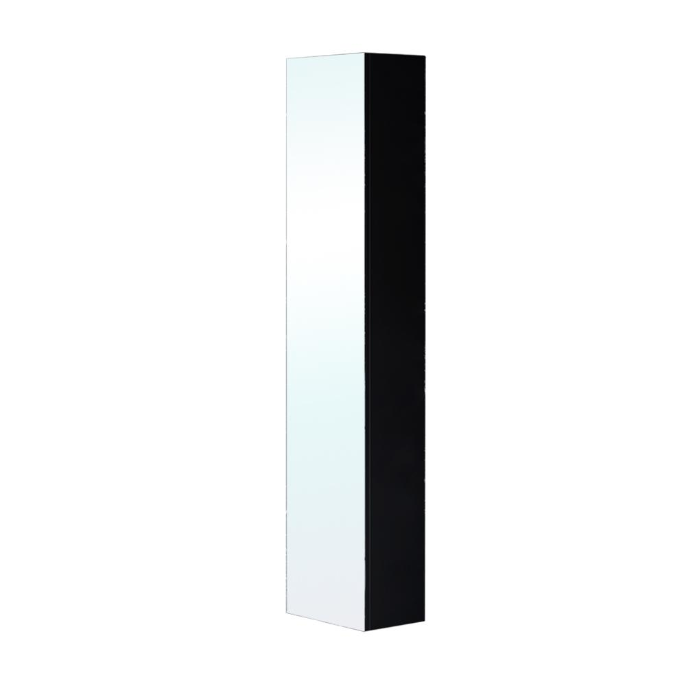Bellaterra Home Chania 11.8 in. W x 8.7 in. D x 59 in. H Wall Mounted Linen Cabinet with Mirror in Black