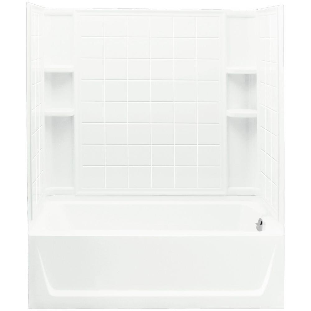 TRUMBULL INDUSTRIES Ensemble 32 in. x 60 in. x 75-1/4 in. Bath and Shower Kit Right Drain in White with Backer Boards -  Sterling, 71120126-0