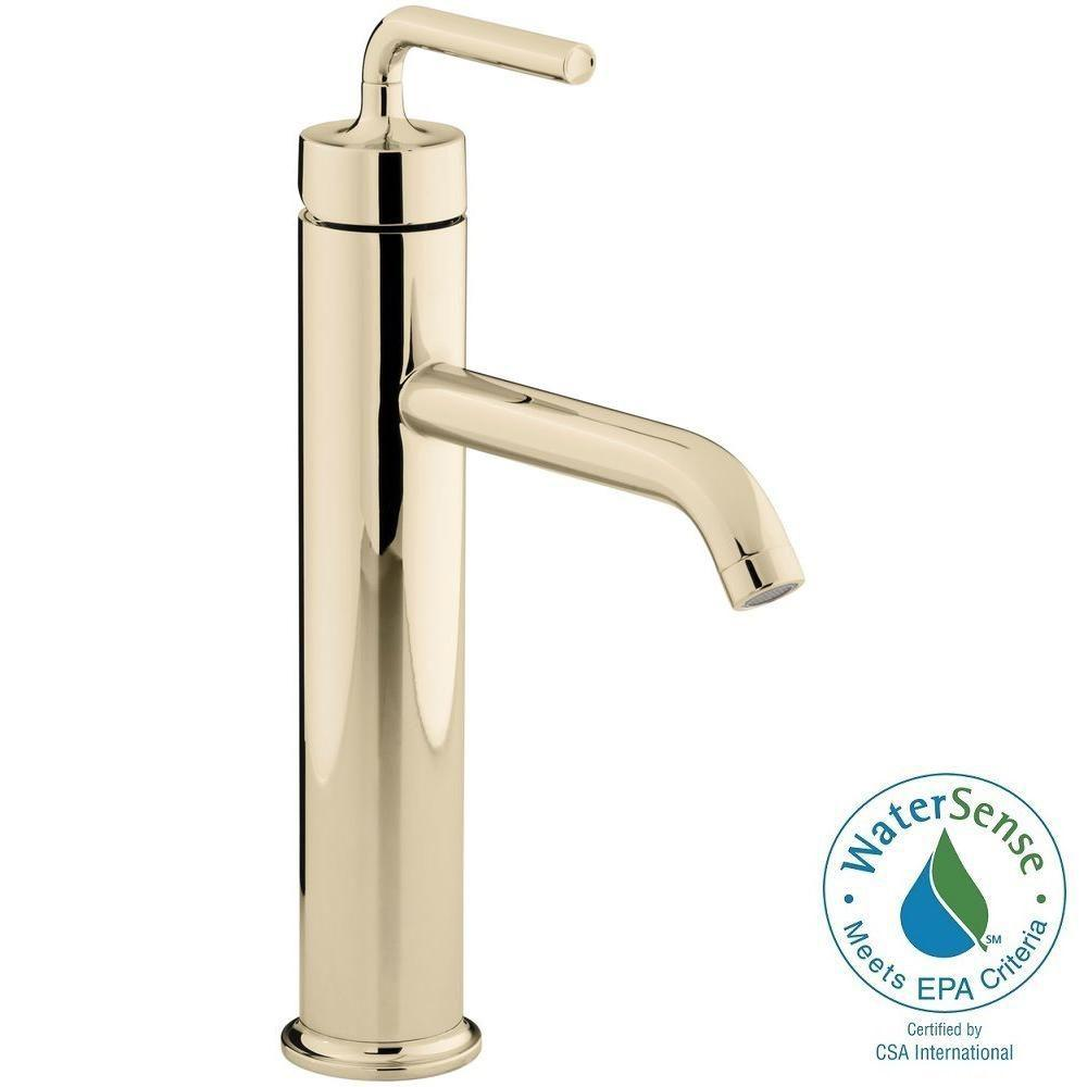 home depot bathroom vessel sink faucets. kohler purist tall 1-hole single handle low-arc bathroom vessel sink faucet with home depot faucets