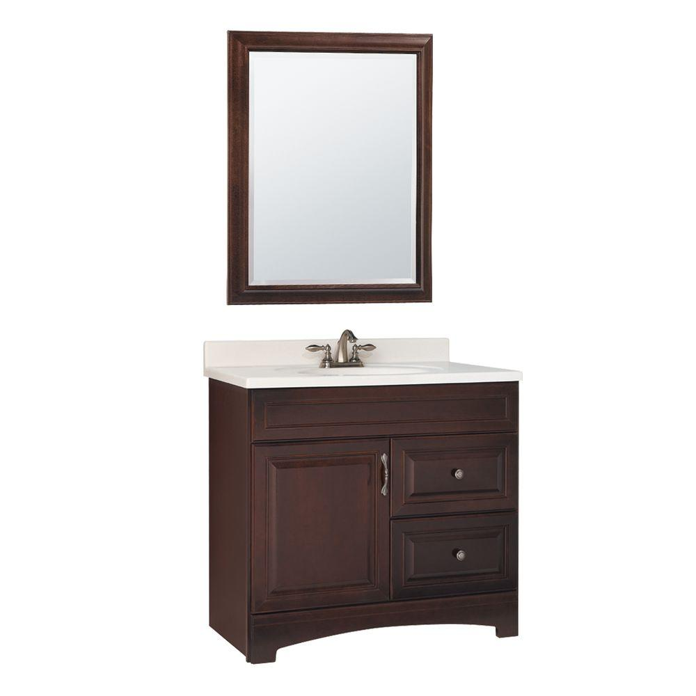 null Gallery 36 in. W x 21 in. D Vanity Cabinet with Mirror in Java-DISCONTINUED