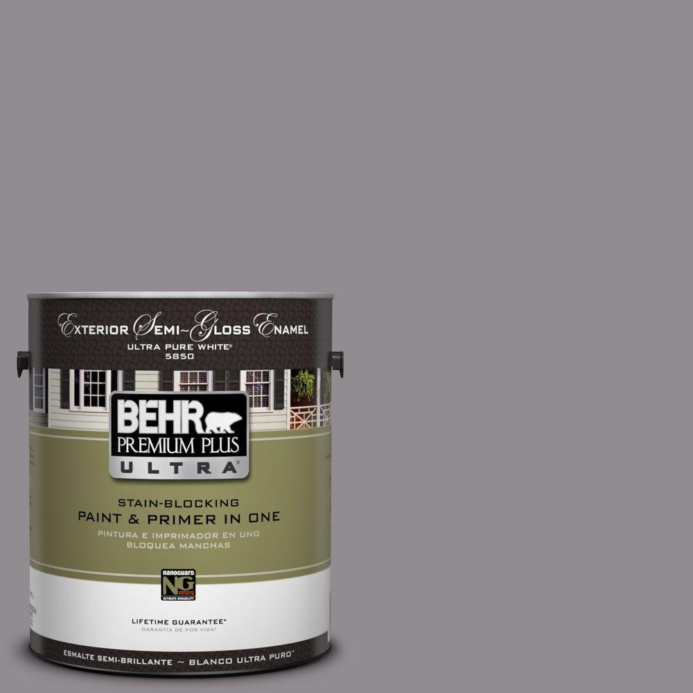 BEHR Premium Plus Ultra 1-Gal. #UL250-5 Plum Smoke Semi-Gloss Enamel Exterior Paint