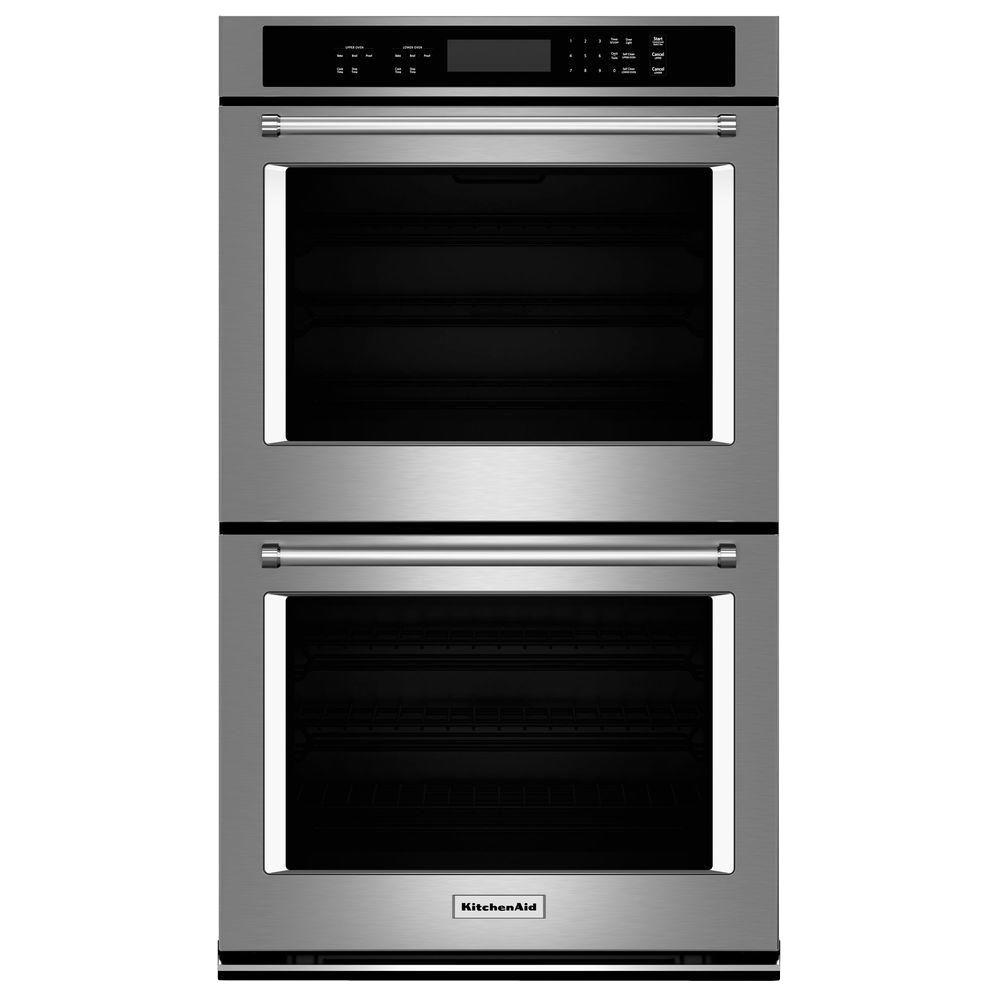 KitchenAid 30 in. Double Electric Wall Oven Self-Cleaning in Stainless Steel