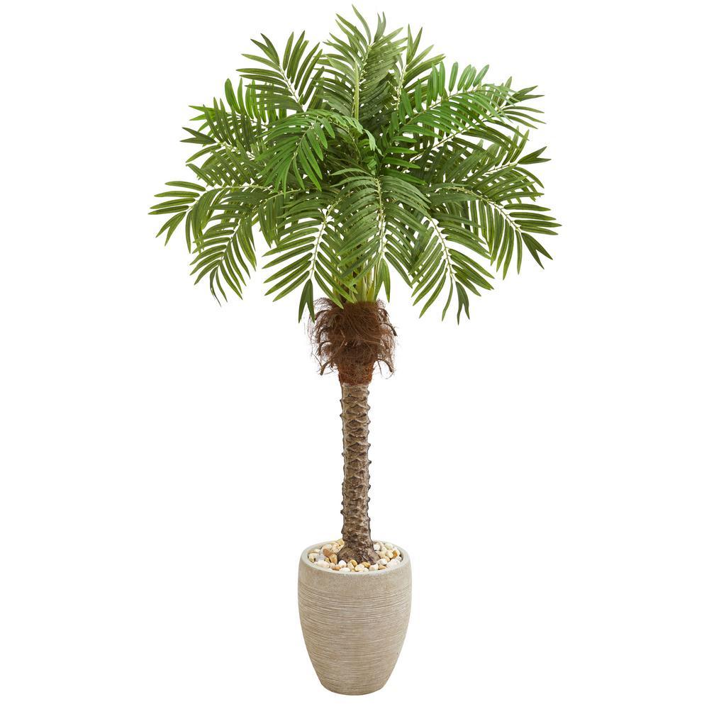 Indoor 63 Robellini Palm Artificial Tree in Sandstone Planter