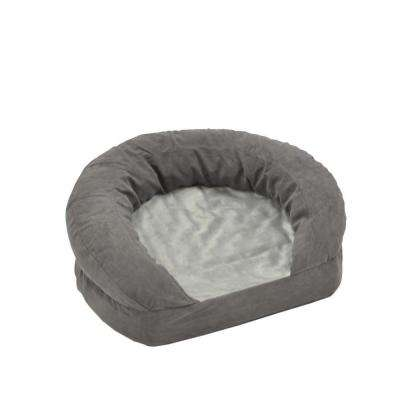 Ortho Bolster Sleeper Medium Gray Velvet Dog Bed
