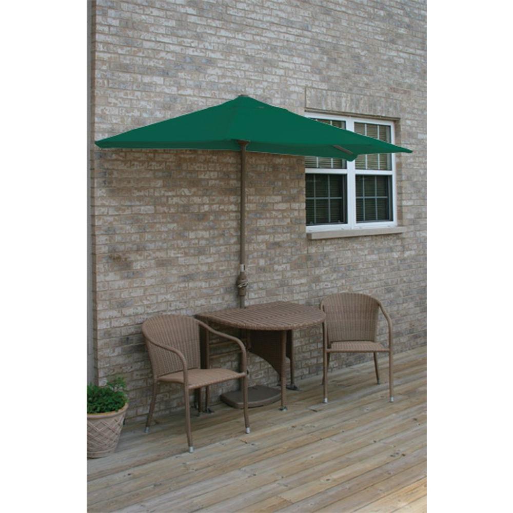 Terrace Mates Genevieve 5-Piece Coffee Patio Bistro Set with 9 ft. Green Olefin Half-Umbrella