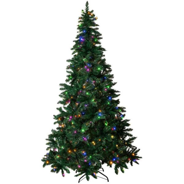 7.5 ft. Pre-Lit LED Spruce Artificial Christmas Tree with 480 Multi-Color and Warm White Lights, 6 Functions