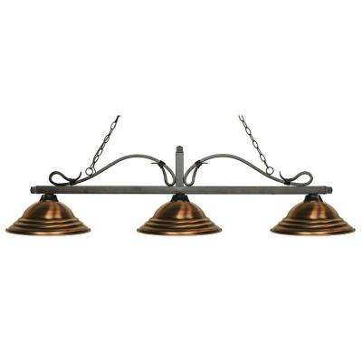 Morgan 3-Light Golden Bronze Island Light with Antique Copper Shades