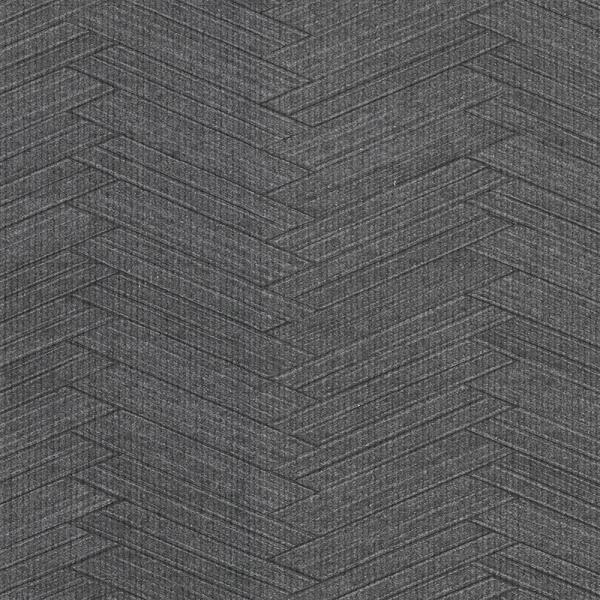 8 in. x 10 in. Karma Charcoal Herringhone Weave Wallpaper Sample
