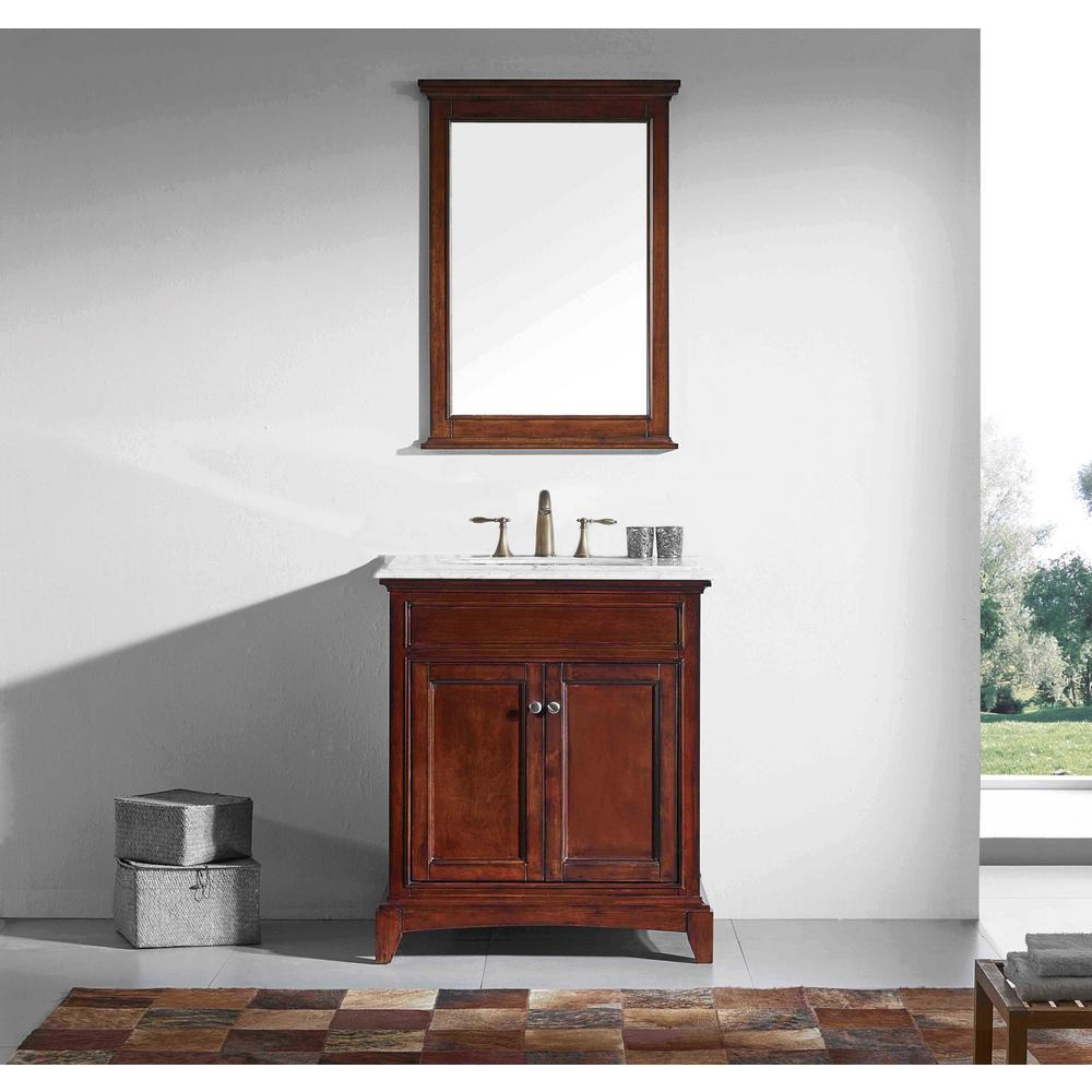 Eviva Elite Stamford 30 in. W x 23.5 in. D x 36 in. H Vanity in Brown with Carrera Marble Top in White with White Basin