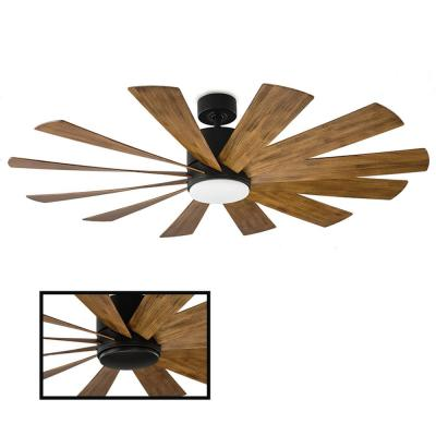 Windflower 60 in. LED Indoor/Outdoor Matte Black 12-Blade Smart Ceiling Fan with 3000K Light Kit and Wall Control
