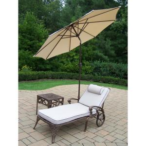 5-Piece Aluminum Outdoor Chaise Lounge Set with Beige Umbrella by