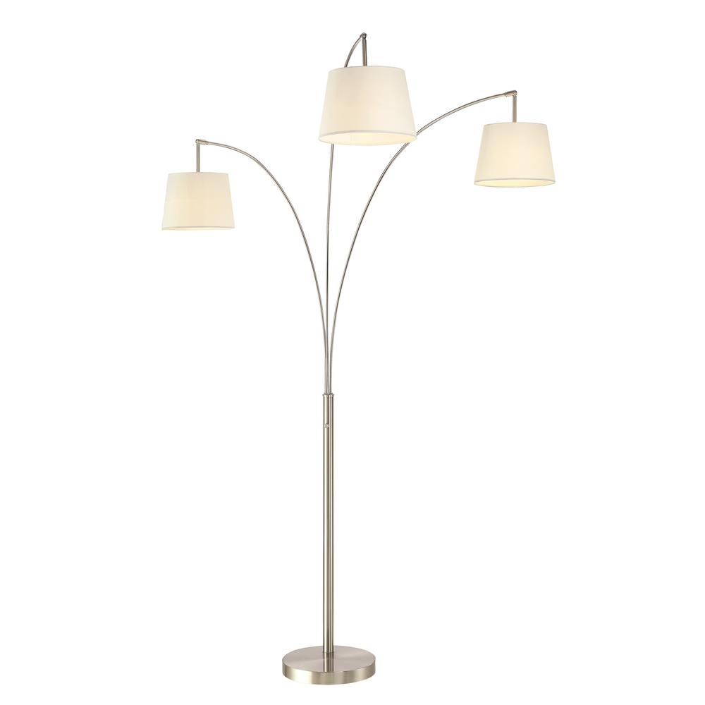 Luce 84 in. Modern LED 3-Arch Brushed Steel Floor Lamp with