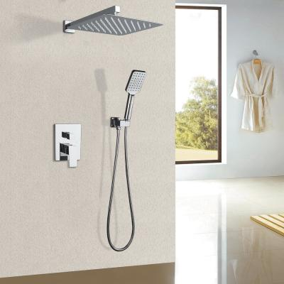 3-Spray Patterns with 2.5 GPM 12 in. 2 Functions Wall Mount Handheld Shower Head in Chrome (Value Included)