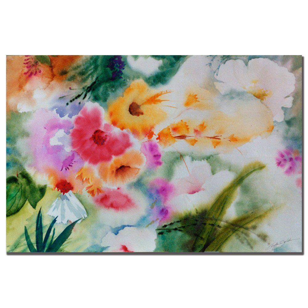 Trademark Fine Art 22 in. x 32 in. Watercolor Flowers Canvas Art