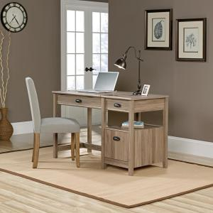 50 in. Rectangular Salt Oak 3 Drawer Computer Desk with Adjustable Height Feature