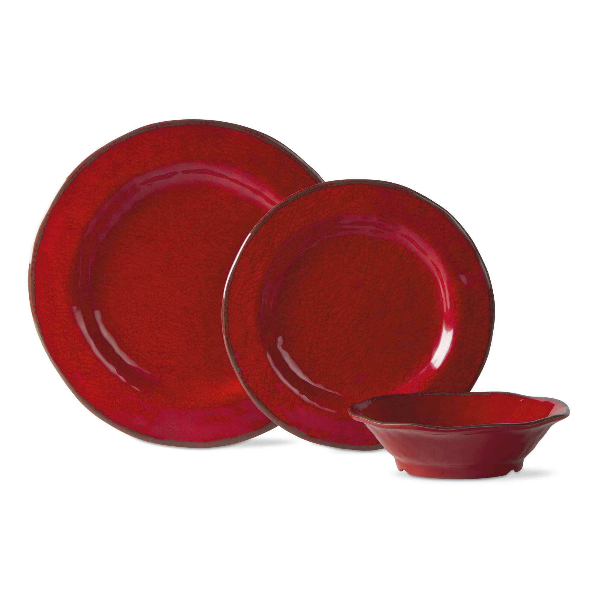 12-Pieces Lanai Melamine Red Dinnerware Set