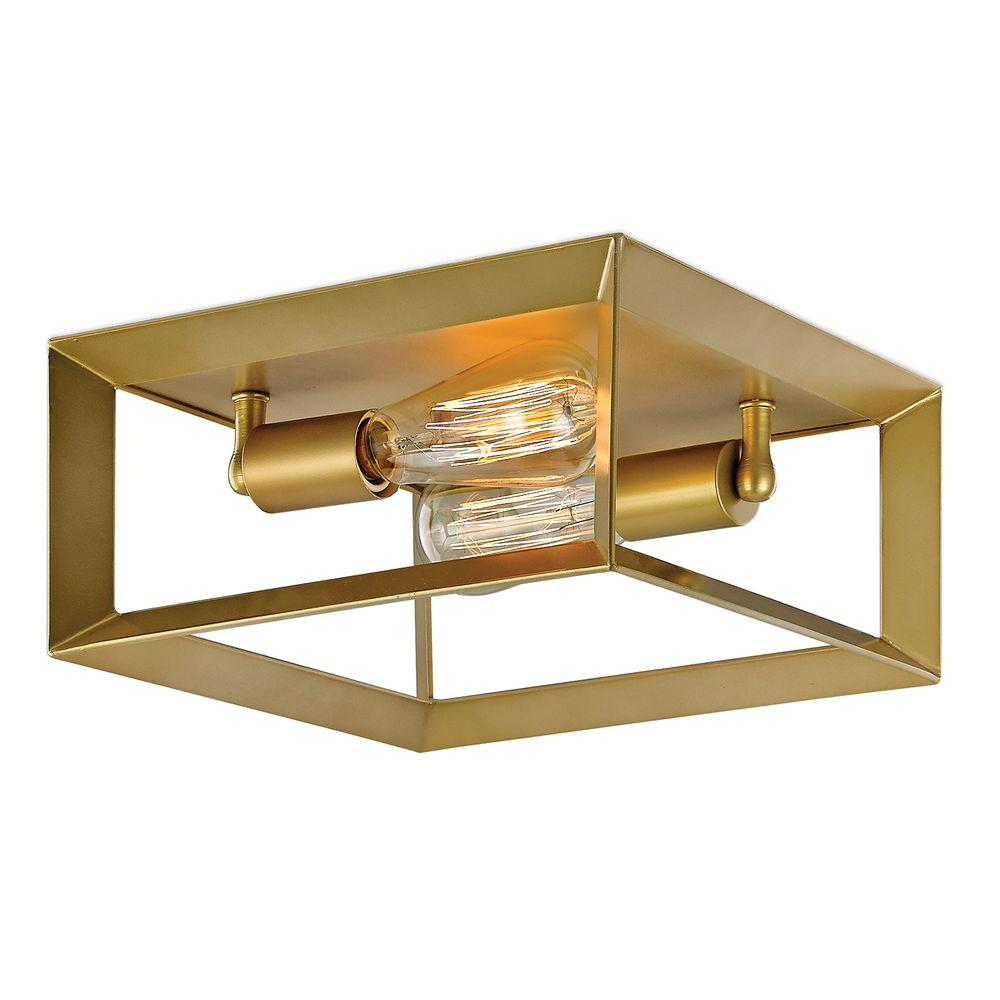 Decor Living Maxime 2-Light Gold Painted Flush Mount