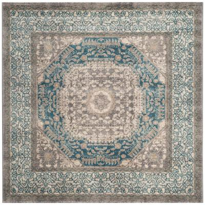 Sofia Light Gray/Blue 7 ft. x 7 ft. Square Area Rug