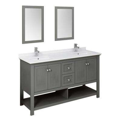 Manchester Regal 60 in. W Double Vanity in Gray Wood with Quartz Stone Vanity Top in White with White Basins, Mirrors