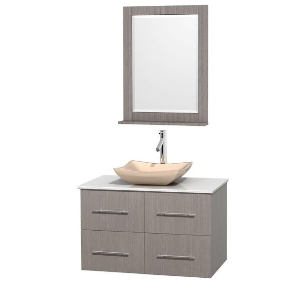 Wyndham collection centra 36 in vanity in gray oak with - Best place to buy bathroom vanities online ...