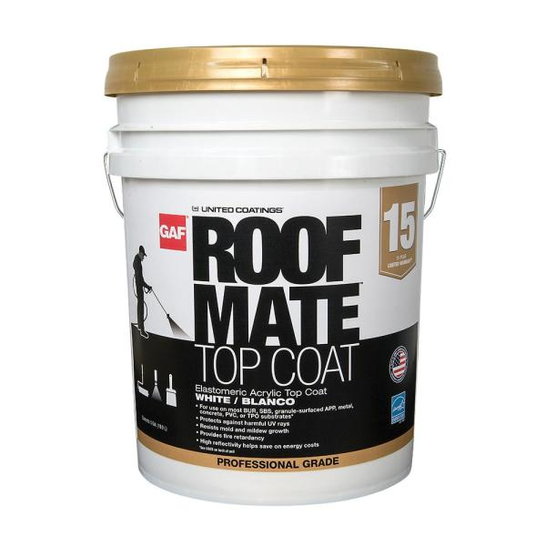Gaf Roof Mate Top Coat 5 Gal Tan Acrylic Reflective Elastomeric Roof Coating 15 Year Limited Warranty 890320820 The Home Depot