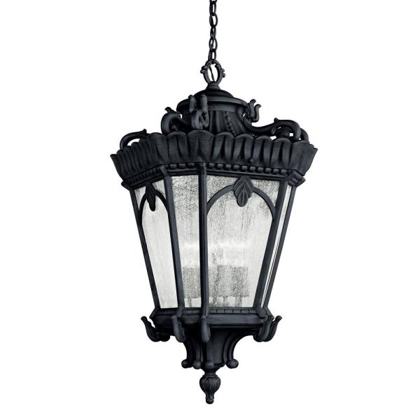 Tournai 4-Light Black Outdoor Pendant Light with Clear Seeded Glass