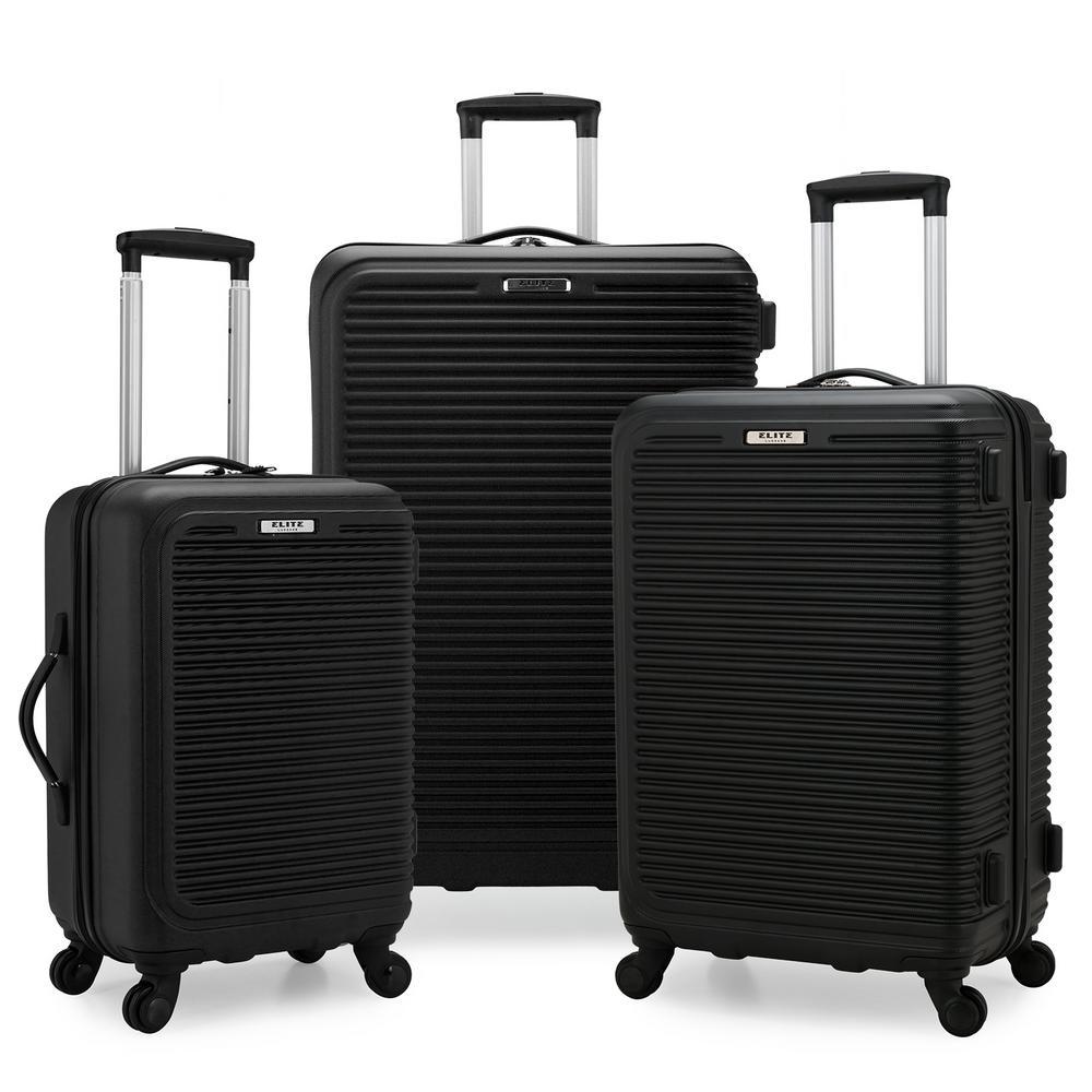 Sunshine 3-Piece Black Hardside Spinner Luggage Set