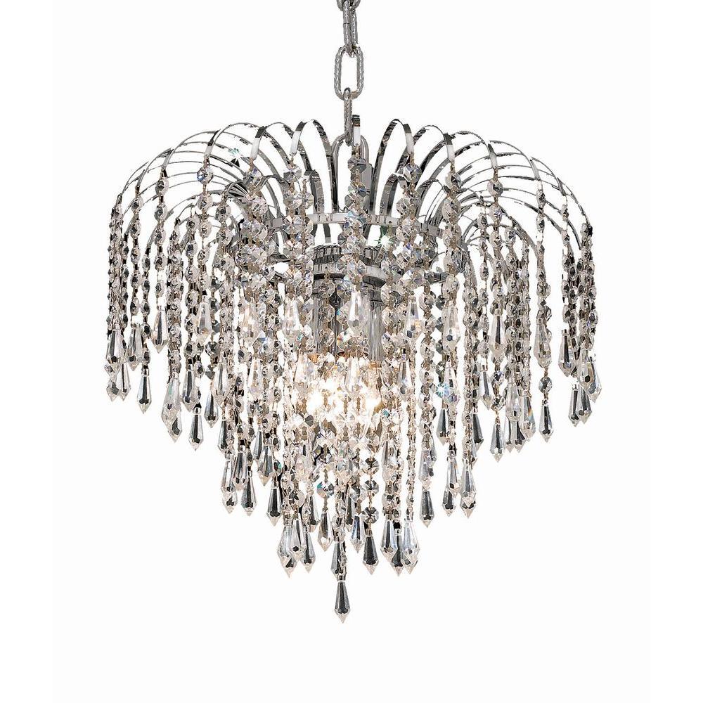 Elegant Lighting 4-Light Chrome Pendant with Clear Crystal