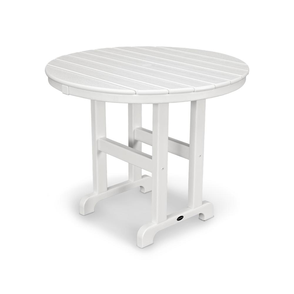 POLYWOOD La Casa Cafe 36 In. White Round Plastic Outdoor Patio Dining Table