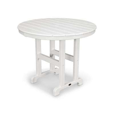 La Casa Cafe 36 in. White Round Plastic Outdoor Patio Dining Table