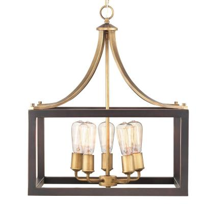 Boswell Quarter 5-Light Vintage Brass Pendant with Painted Black Distressed Wood Accents