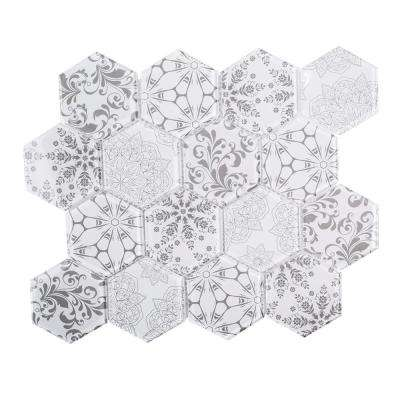 Cottage Print 10-3/4 in. x 12-1/4 in. x 6 mm Glass Mosaic Tile