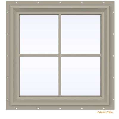 23.5 in. x 23.5 in. V-2500 Series Desert Sand Vinyl Fixed Picture Window with Colonial Grids/Grilles