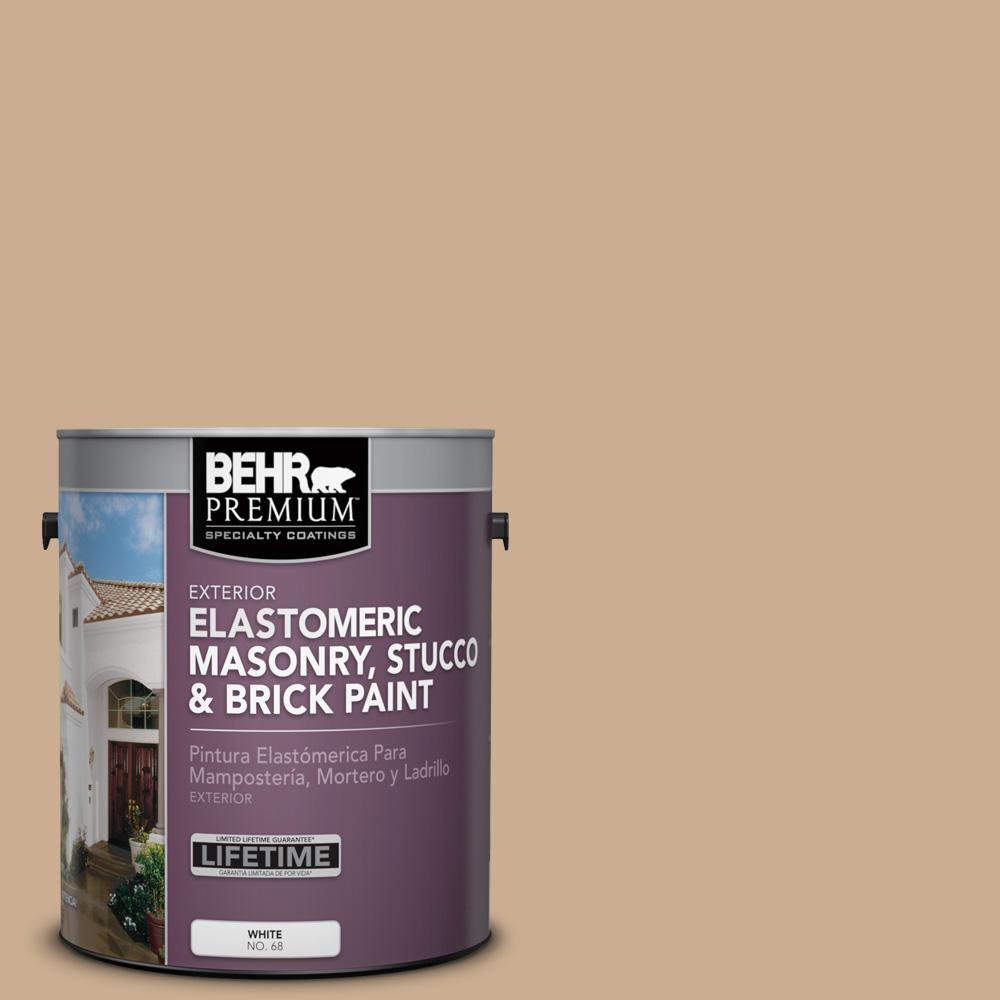 1 gal. #PFC-23 Tan Elastomeric Masonry, Stucco and Brick Exterior Paint
