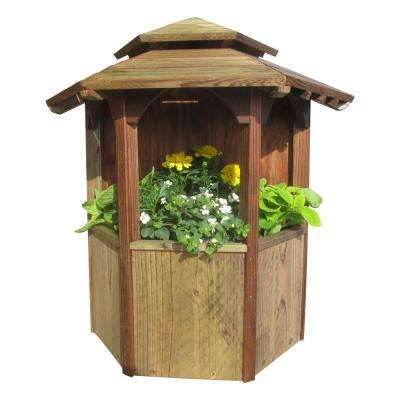 19.5 in. Wide x 19 in. Tall Wood Wall Mount Gazebo Planter with Pagoda Roof, Treated with Semi-Transparent Brown